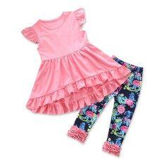 bf5fec4f8e6c Summer Children Clothing Pure Color Sleeveless Tops Floral Print Ruffle  Pants 2pcs Kids Suit Boutique Girls