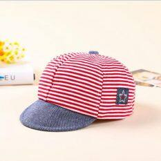 Musim Panas Bahan Katun Topi Bayi Imut Kasual Bergaris Bagian Atas Lembut Topi  Bisbol Bayi Baret a45af49448