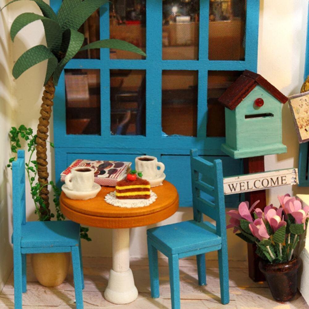 (Musim Panas Vacation Diary) rumah Boneka Miniatur DIY Rumah Buku Wood Lucu Kafe Teh Rumah dengan LED Furniture Perlengkapan-Internasional