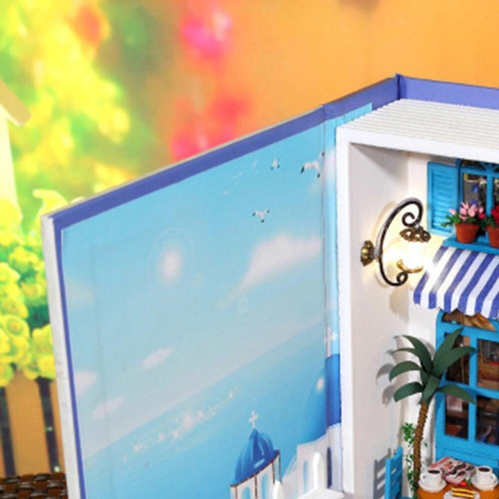 (Summer Vacation Diary)Dollhouse Miniature DIY House Book Wood Cute Tea Cafe House with LED Furniture Kit - intl