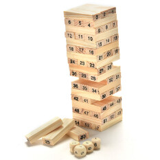 Sunking 54pcs Wooden Block+4pcs Dices Tumbling Stacking Tower Educational Building Blocks Kids Toy By Sunking Store.