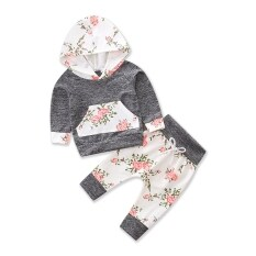b800e3d517fb Toddler Girl Clothing Cotton Suits Baby Girls Clothes Set Long Sleeve  Hoodies+Flower Pants 2pcs