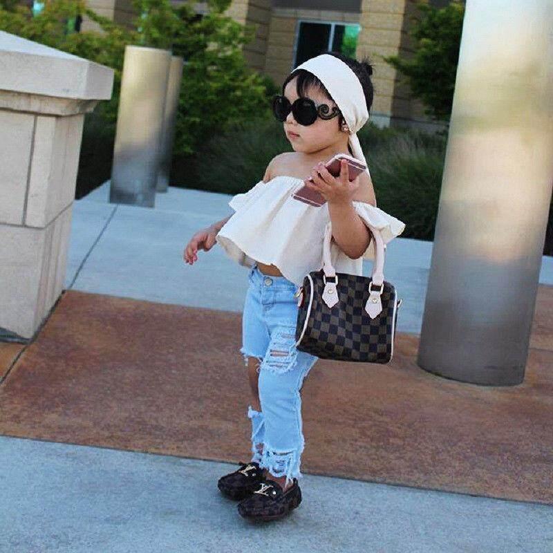 fa4484e769d02e Toddler Girls Kid Off Shoulder Tops Denim Pants Jeans Outfits Set Clothes(Prensent  Headband)