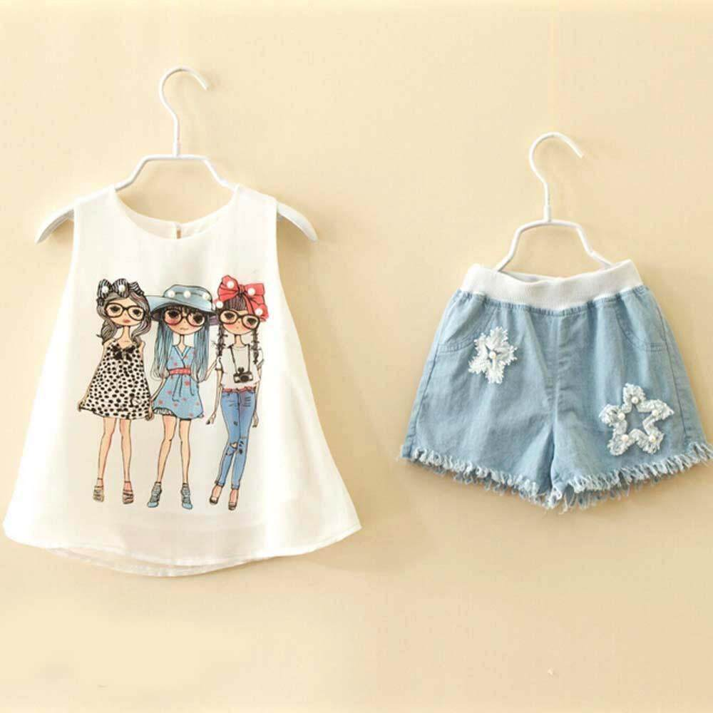 SoonYip Toddler Kids Baby Girls Summer Outfit Clothes Print Vest T-Shirt+Short Pants