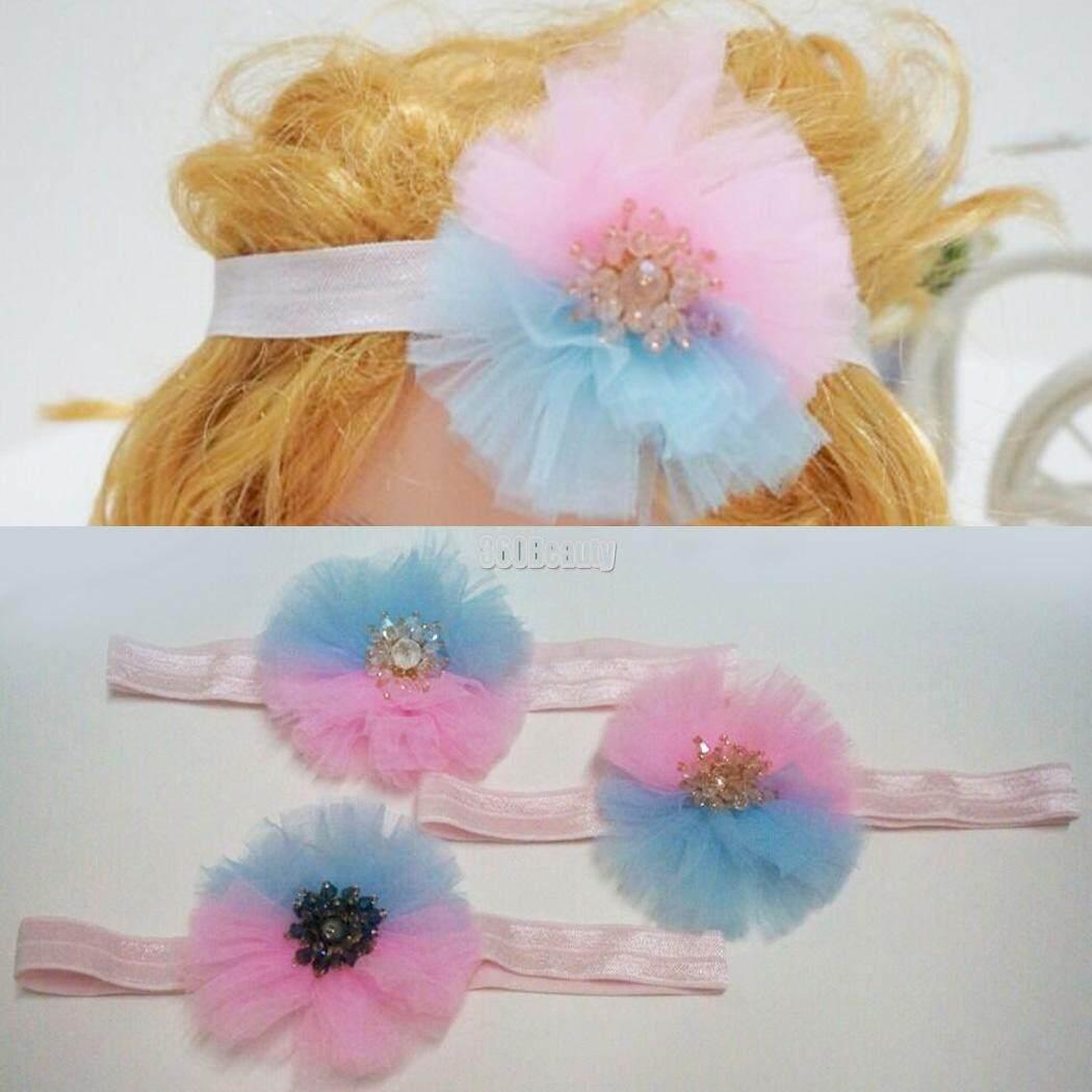 Toprank 3pcs of Baby Girls Shiny Glitter Rhinestone Bowknot Mesh Elastic Hair Bands Headdress - intl