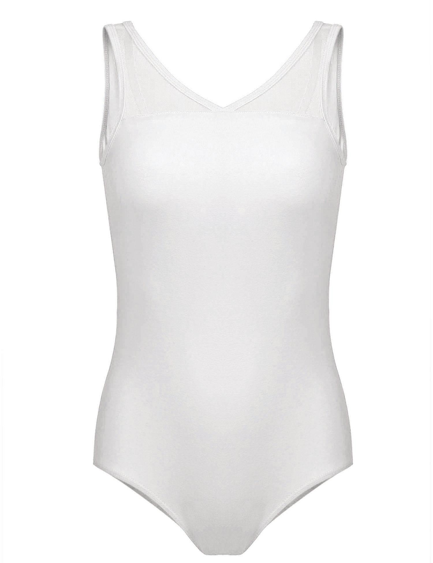 Toprank ผู้หญิงยิมนาสติกแขนกุด Dancewear ตาข่ายเสื้อสายเดี่ยวสีพื้น Leotard - Intl.