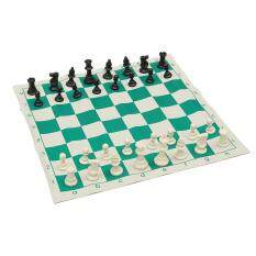 Tournament Chess Set New Game Gifts - Plastic Pieces and Green Roll w/Case