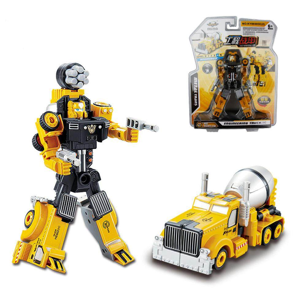 Transformation Car Robot Model Alloy Construction Vehicles Manual Operated Style:Mixer Truck - intl