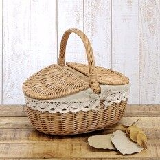 Up To 10kg Wicker Hand Picnic Storage Basket Shopping Hamper With Lid And Handle By Qiaosha.