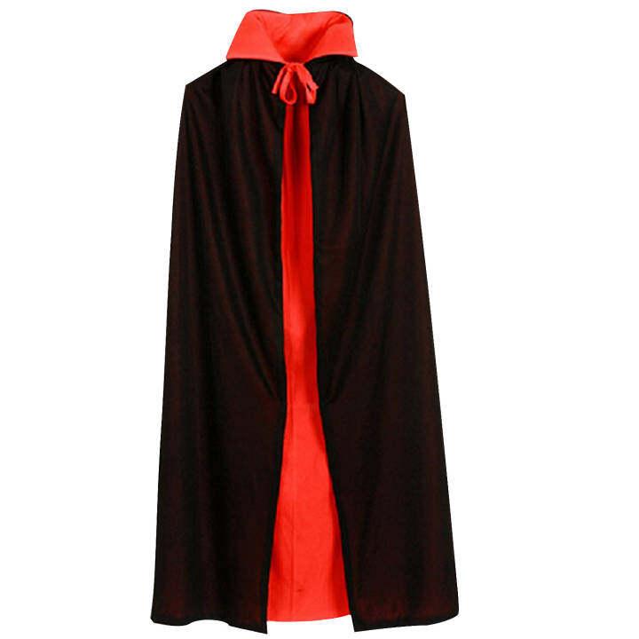 Vampire Dracula Cloak Cape for Children Kid Halloween Fancy Dress Costume 90cm Long Black Red Reversable