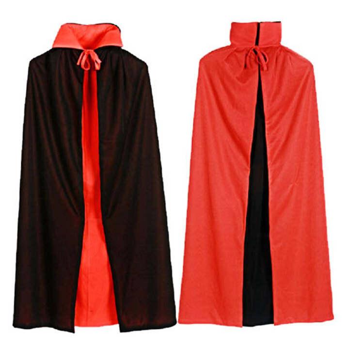 Vampire Dracula Cloak Cape for Women Female Halloween Fancy Dress Costume 120cm Long Black Red Reversable