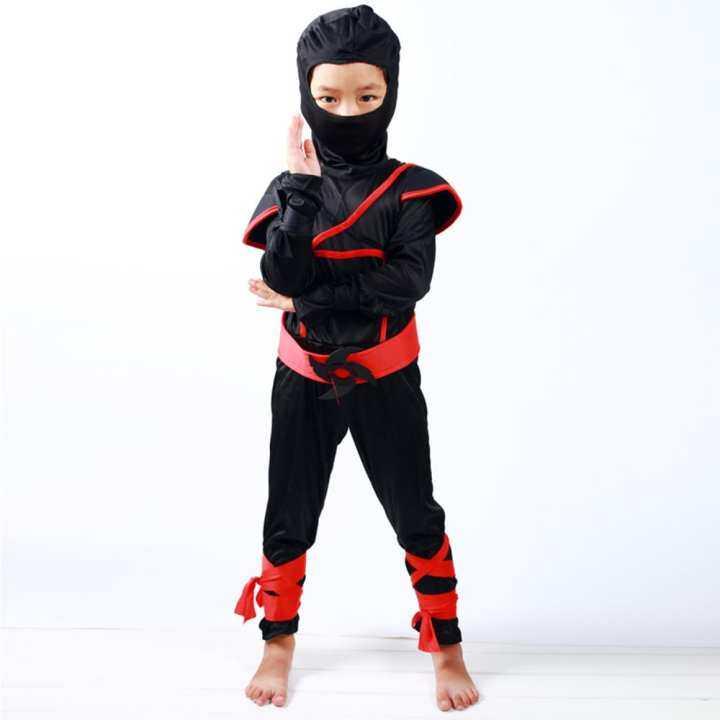 Vanker-Halloween Boys Kids Childs Ninja Assassin Japanese Samurai Warrior Fancy Costume (M)