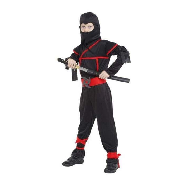 Vanker-Halloween Boys Kids Childs Ninja Assassin Japanese Samurai Warrior Fancy Costume (XL)
