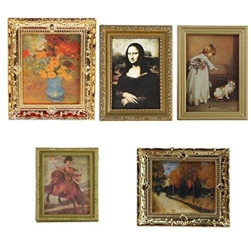 Veecome Golden Plastic Frame Flower Oil Painting 1:12 Miniature Dollhouse Furniture Toy - intl