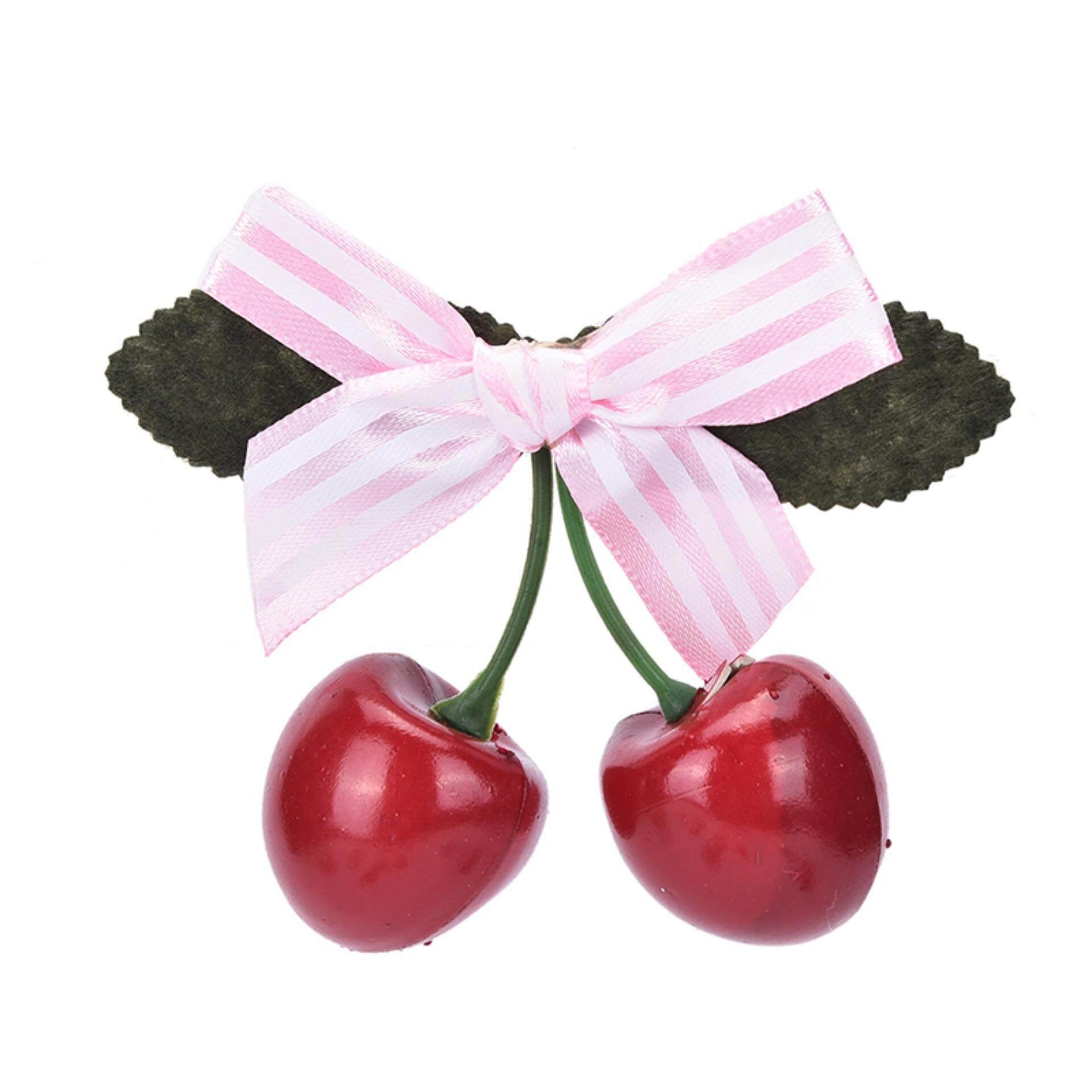 Vintage Cherry Busur Jepit Rambut untuk Pinup Gadis Rockabilly Aksesori Rambut Pita Merah-Intl