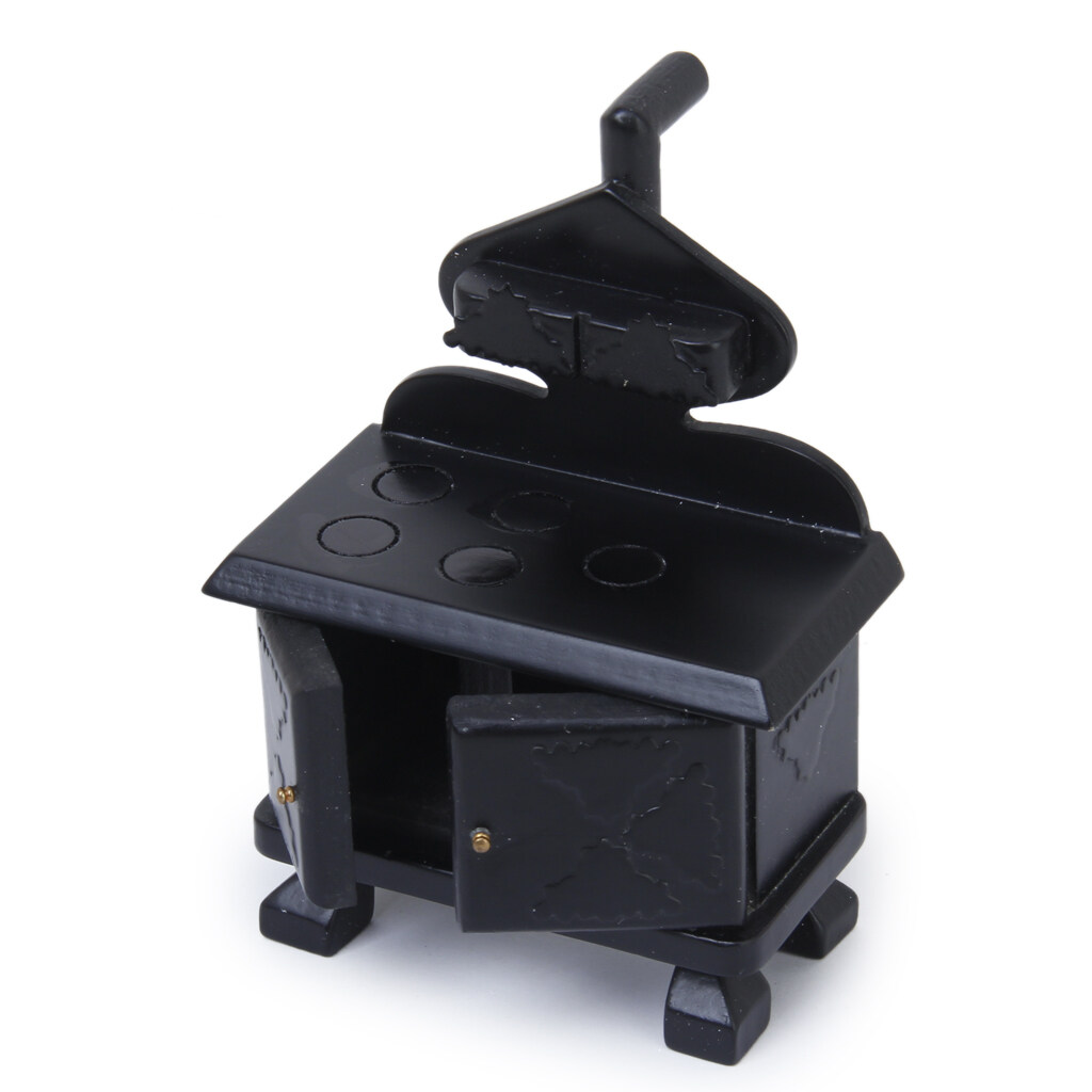 Vintage Wood Miniature Kitchen Stove Cooker Black For Furniture Accessory - intl