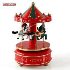 Vintage ไม้ Merry - Go - Round ม้าหมุนแบบมีเพลงกล่องเด็กผู้หญิงของขวัญคริสต์มาสวันเกิดของเล่นของตกแต่งงานแต่งงาน.