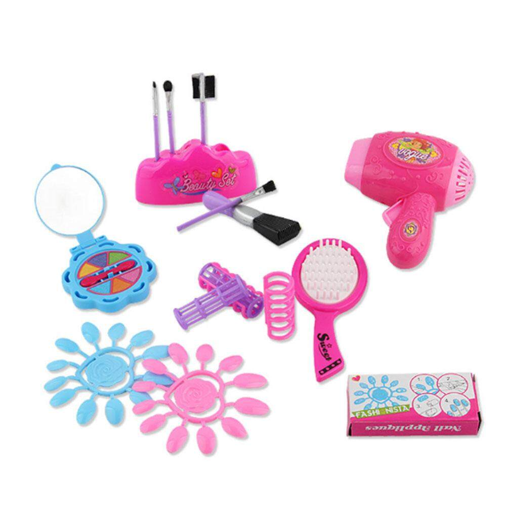 Vishine Mall Cosmetic Storage Bag Toy Set Makeup Mirror Hairdryer Pretend Play House Roleplay Girls
