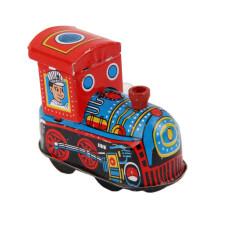 Wind Up Train Locomotive Model Clockwork Kids Play Metal Toys Collectible.
