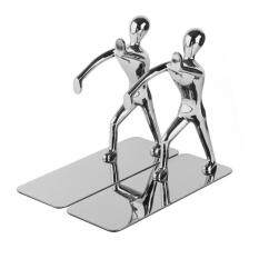 Womdee 2pcs Stainless Steel Nonskid Bookends,office Library Decoration Kung Fu Man Bookends,silver By Womdee.