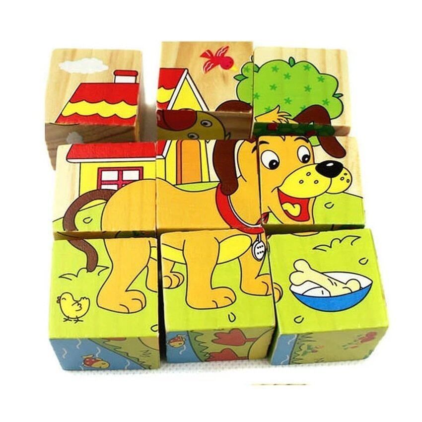 Wooden 3D Puzzle Block Toy Early Educational Kid Child Gift 6 Sided blocks  - Farm animal