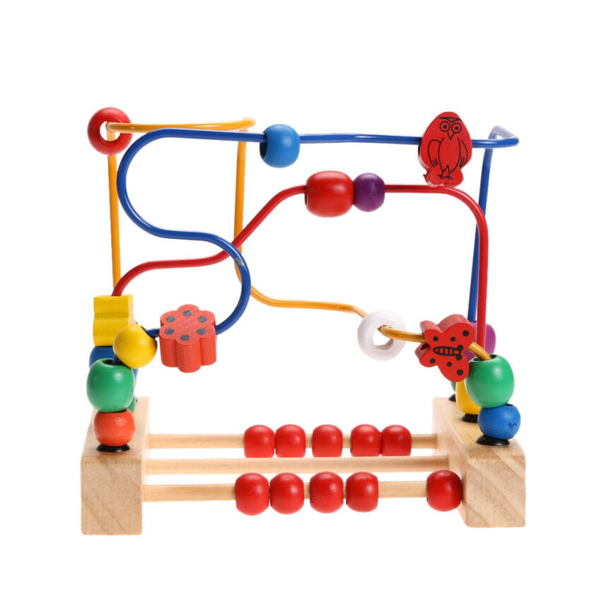 Wooden Bead Maze Educational Kids Child Bead Rollercoaster Maze Puzzle Toy