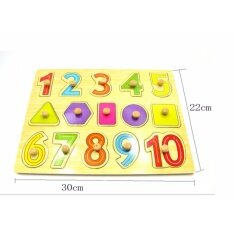 Wooden Education Knob Puzzle (numbers&shape) / Wooden Pegboard / Early Childhood Educational Toys By Little Baby Store.