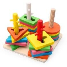 Wooden Educational Geometry Toy Layers Of Stacked 4 Column Set By Toys & Tots.