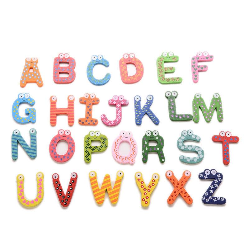 Hình ảnh Wooden Fridge Magnets Magnetic Letters 26pcs Multicolor - intl
