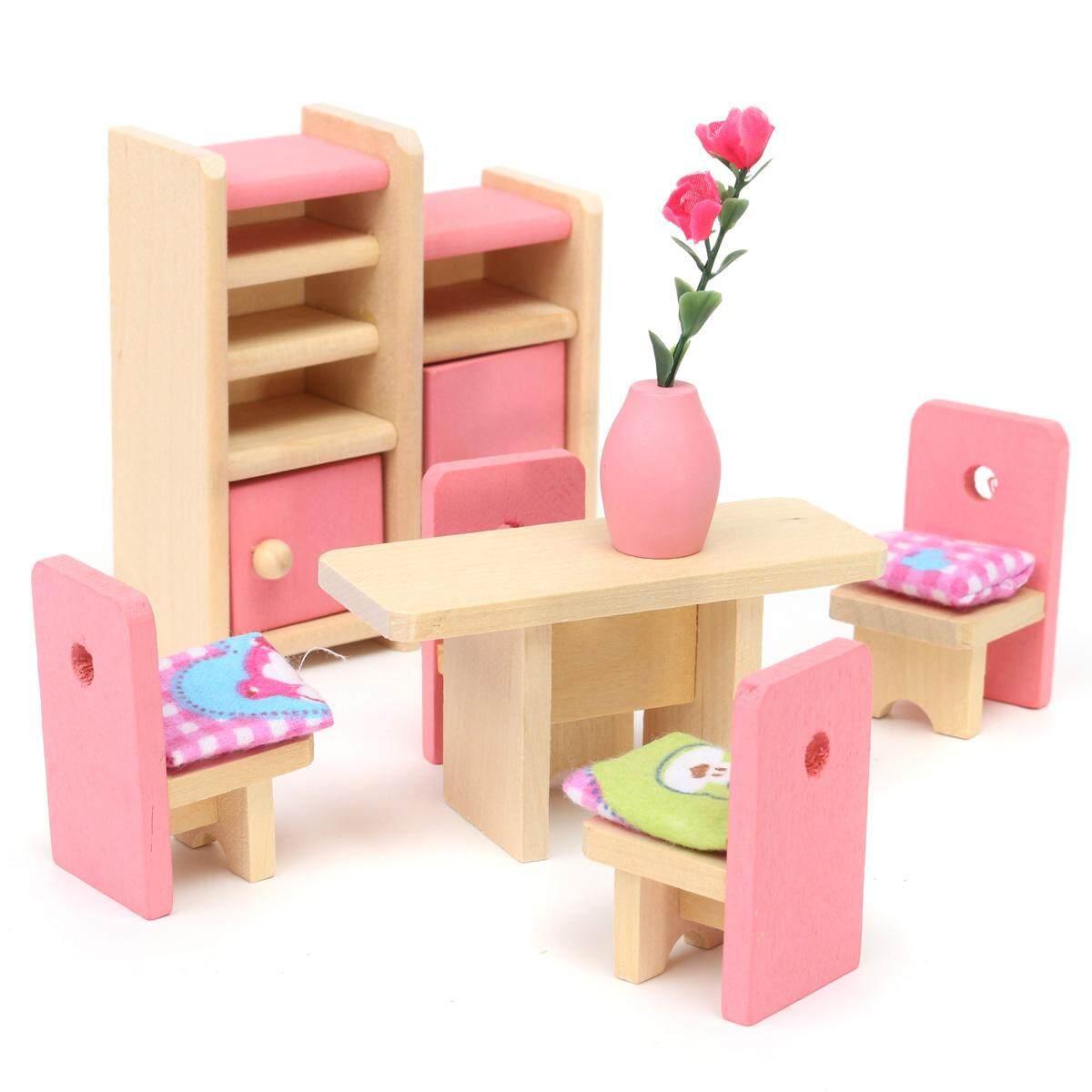 Kayu Furniture Room Set Boneka Rumah Keluarga Miniatur untuk Anak-anak Mainan Anak-Internasional