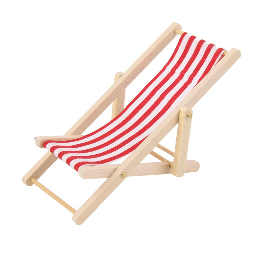 Kursi Kursi Kayu Merah Putih Bergaris untuk Miniatur Furniture-Internasional