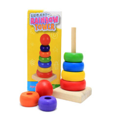 Wooden Toys Colorful Rainbow Tower For Kids By Carristo.