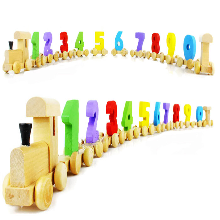 Wooden Toys For Number Color Recognition Train