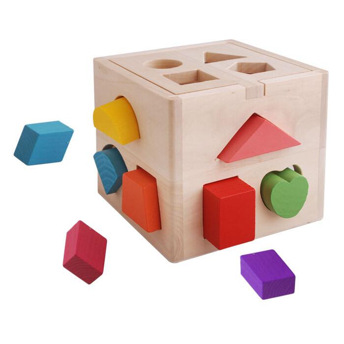Wooden Toys Shape Sorter Box For Kids Educational