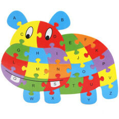 YBC 26 Letters Wooden Puzzle Jigsaw Early Learning For Kids Intelligent Toys Hippo Shape