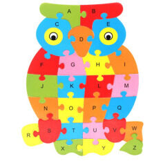 Ybc 26 Letters Wooden Puzzle Jigsaw Early Learning For Kids Intelligent Toys Owl Shape By Your Bestchoice.