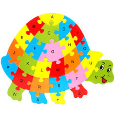 Ybc 26 Letters Wooden Puzzle Jigsaw Early Learning For Kids Intelligent Toys Tortoise Shape By Your Bestchoice.
