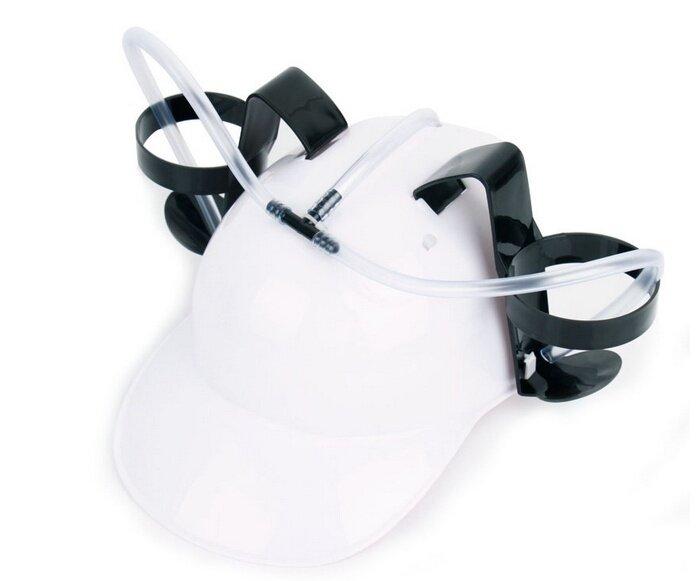 Hình ảnh YBC Lazy Helmet Hat Straw Drink Beer Coke Creative Strange Gadgets White - intl