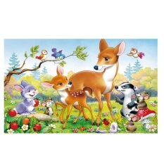Veecome 60 Pcs/set Cute Wooden Cartoon Animal Puzzle Game With Iron Box Early Educational Toys Baby Kids Training Toy Lovely S Style:sika Deer For Children By Veecome.