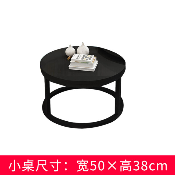 Northern Europe Light Luxury cha ji zhuo Small Apartment Living Room Simple Household Assembly Imitation Rock round Tempered Glass Small Coffee Table