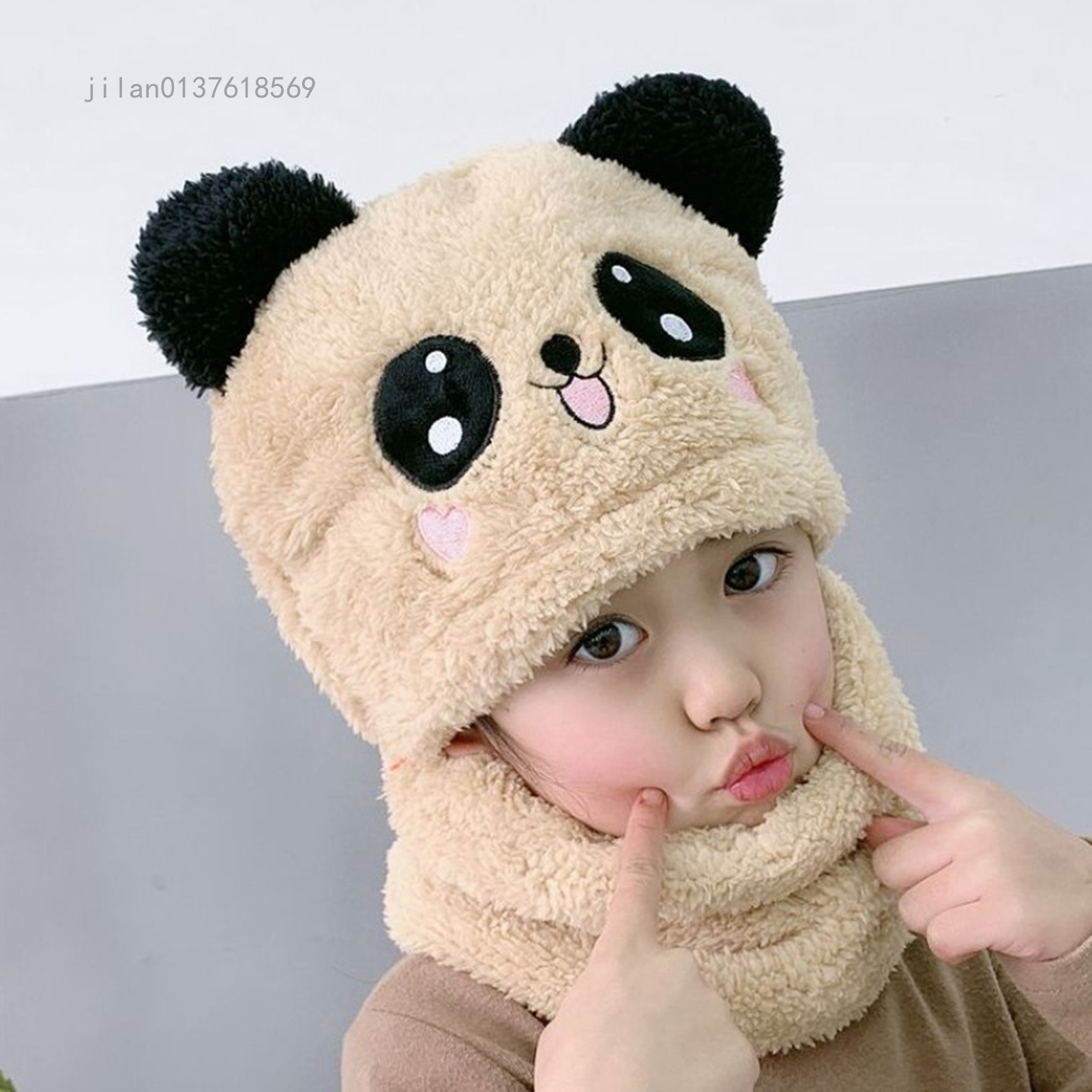 Mùa Đông Cho Trẻ Em Mũ Mũ Len Dệt Kim Bé Gái Cỡ Lỡn Lông Cừu Mũ Hoạt Hình Khuôn Mặt Khăn Mũ Trẻ Em Tai Mèo Dễ Thương Mũ Cho Trẻ Em