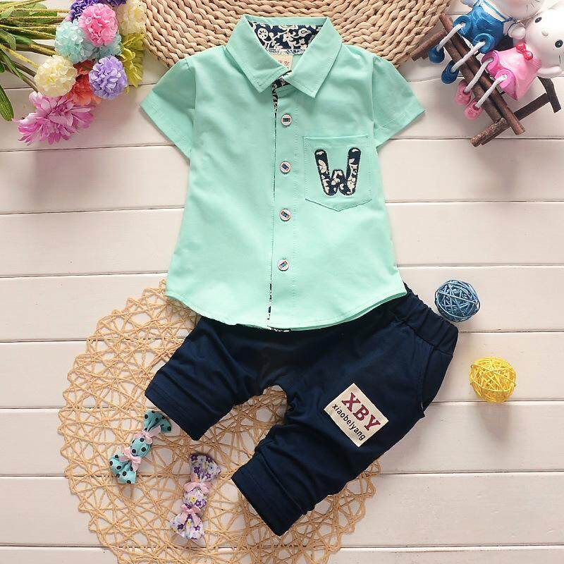 Baby Boys Summer Solid Color Printing Shirt + Pants Set By Ropalia Store.