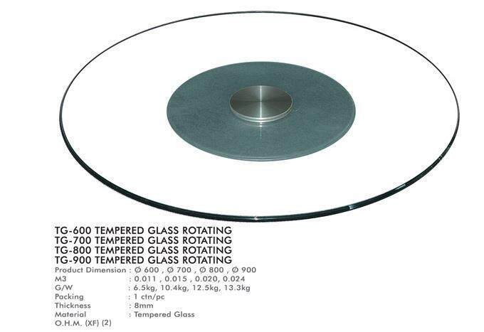 4 Size Tempered Glass Rotating Top Table - 600mm By Want2buymore.