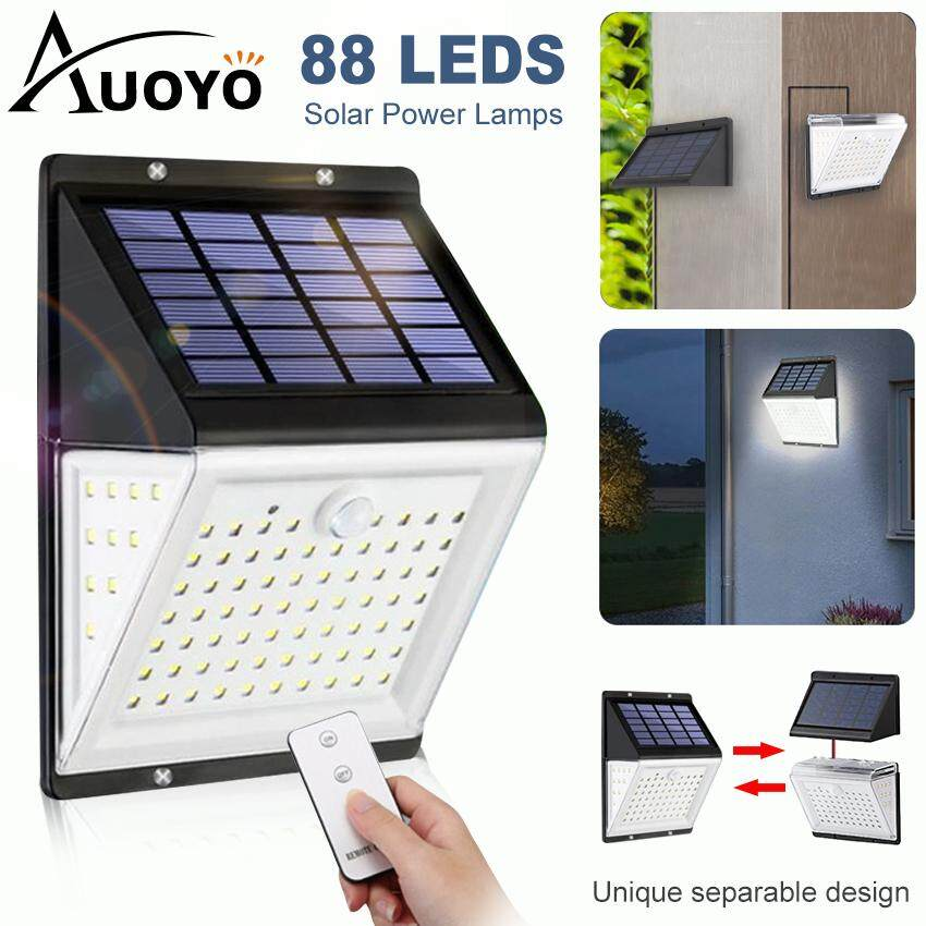 Auoyo 88 Led Solar Power Lamp Outdoor Lighting Pir Motion Sensor Solar Light Ip65 Waterproof 5 Lighting Modes Human Sensor Voice Control Remote Control With Panel Separation For Outdoor Yard.