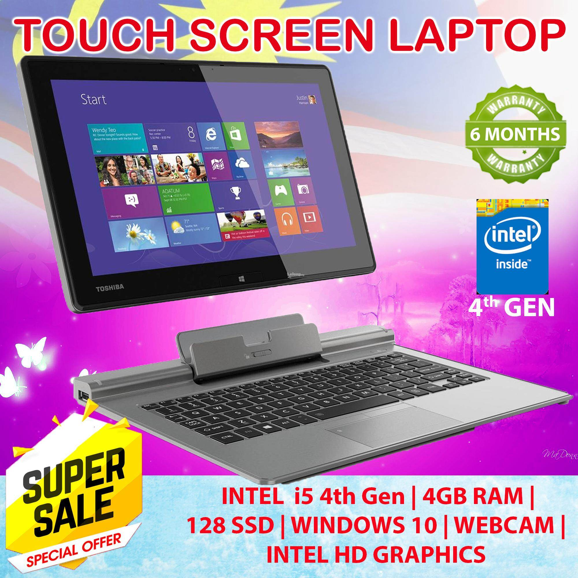 Toshiba Portege Z10t-A -(Touch Screen) Laptop - Intel Core i5-4th Gen ,4GB RAM,128GB 6 months warranty - Free Bag + other items Malaysia
