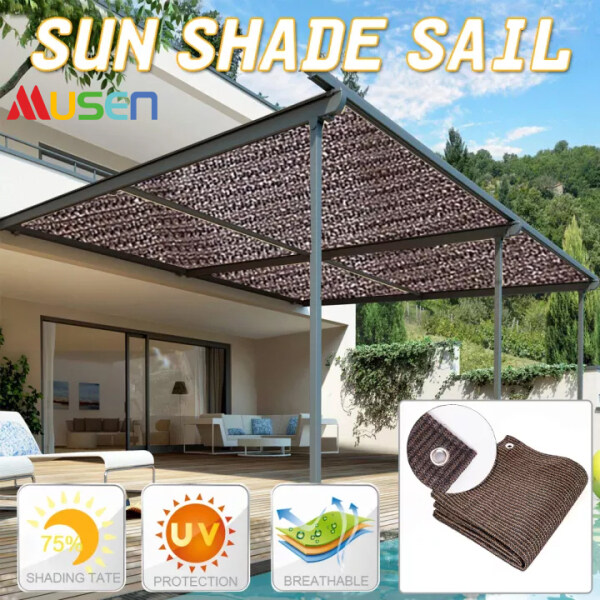 MUSEN Household Sun Shade Outdoor Screen Hot Resistant Protection Sun Shade Mesh Canopy Awning Privacy Sun Shelter for Gardens Indoors Garages