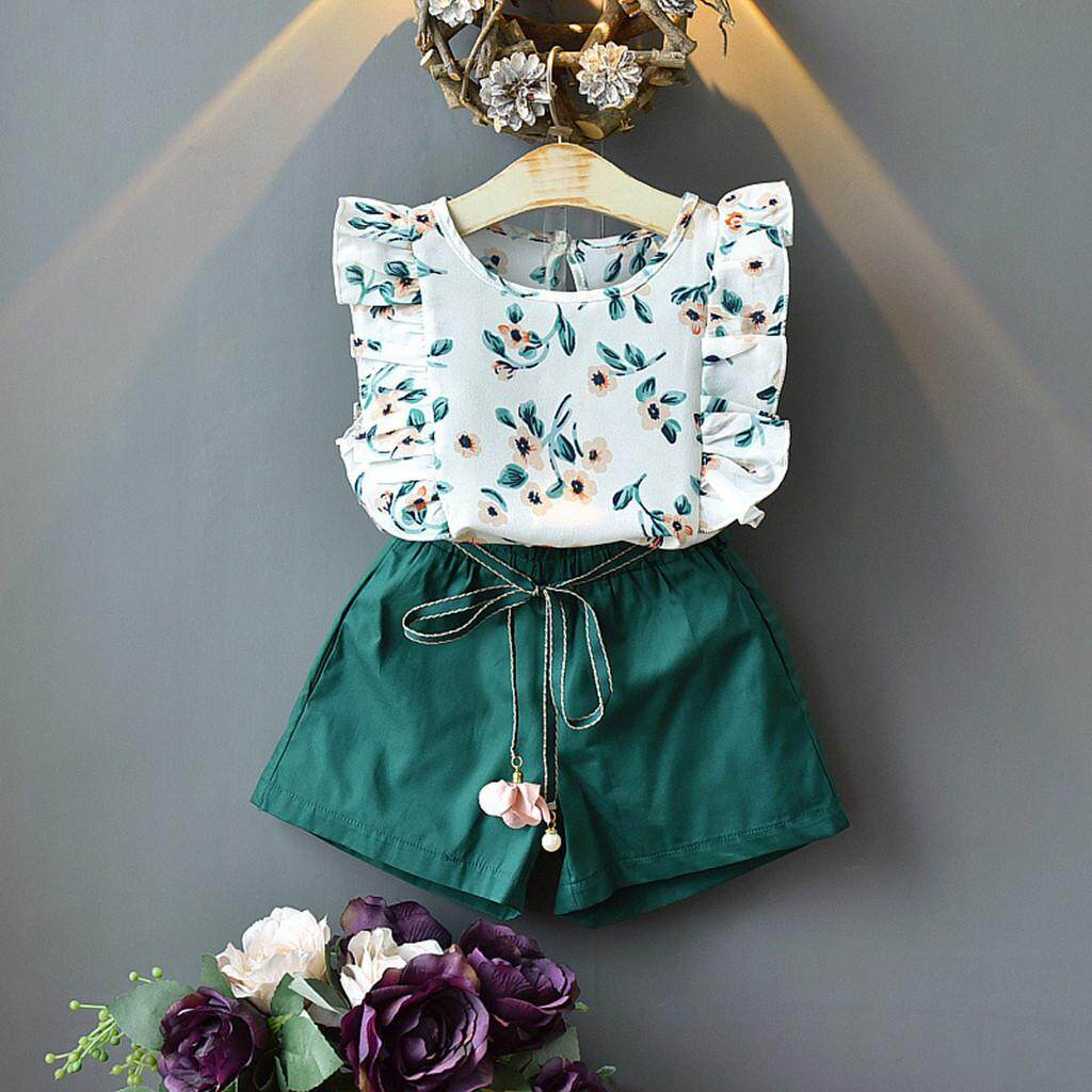 ccbe4a5c4 Lazadacarell Toddler Kids Baby Girls Outfits Clothes Flower Print T-shirt  Top+Belt Shorts