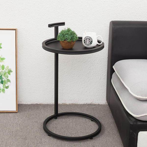 Creative Iron Snack Side Table, Metal Tabletop Furniture with Strong Metal Frame, Mobile End Round Table for Coffee Laptop Table, Slides Next to Sofa Couch