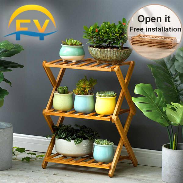 [Free Installation] FY Flower Rack Flower Display Plant Rack Shelf Shoe Rack Multi-Purpose 3/4 Tiers Foldable Bamboo for Indoor Outdoor Balcony Living Room Garden Patio