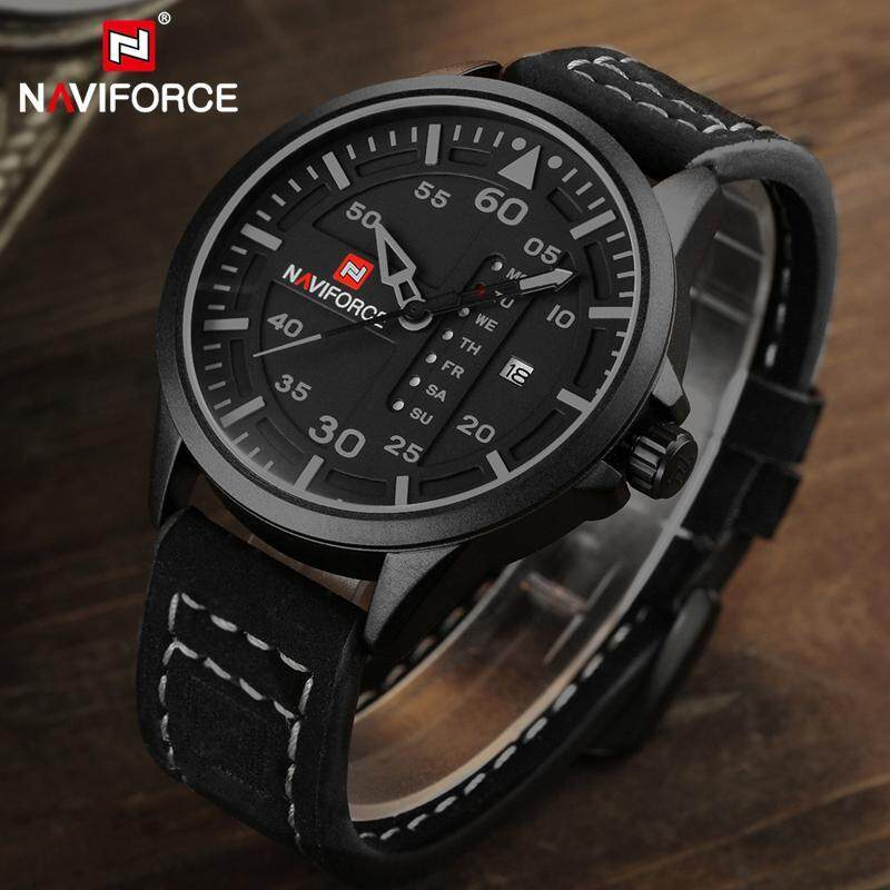 NAVIFORCE Mens Watches Fashion Casual Men Leather Strap Quartz Sport Watch For Men Top Luxury Brand Waterproof Military Date Wrist Watch Malaysia